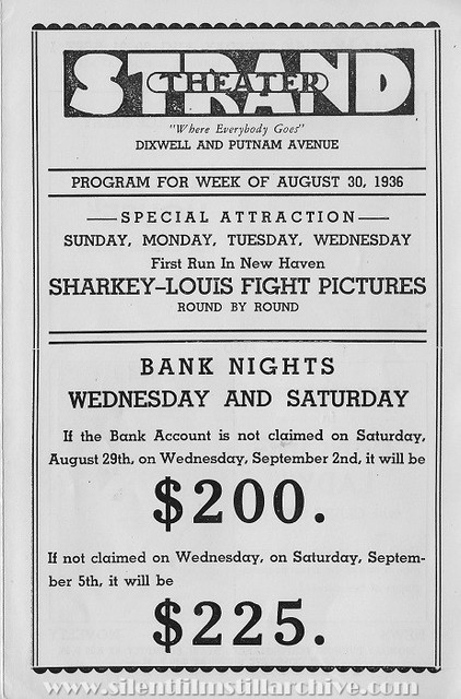 Program for the Hamden Strand Theater, August 30, 1936