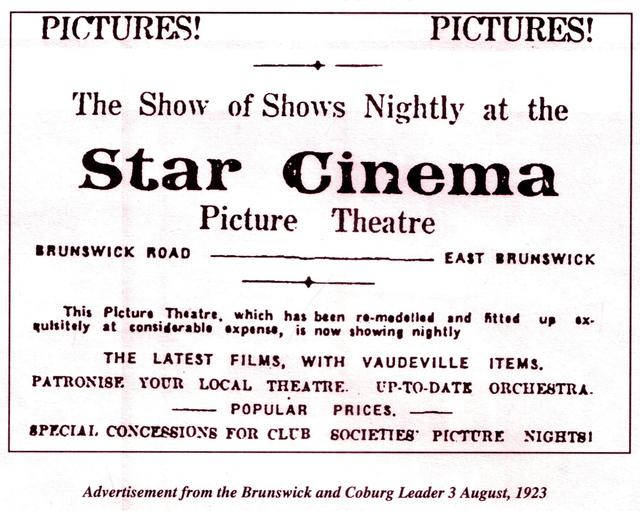 Star Theatre 66 Brunswick Road, Brunswick, VIC - 1923 Newspaper advert