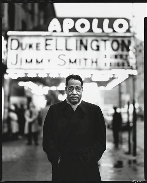 Duke Ellington in front of the Apollo Theatre. 1963 photo credit Richard Avedon , © Richard Avedon Foundation, courtesy The New Yorker Magazine.