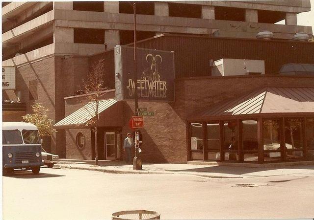 Circa 1980 photo, Carnegie marquee far left.