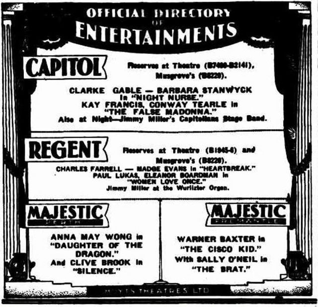 Capitol Theatre  William Street and The Esplanade, Perth, WA 6000 - Hoyts combined newspaper advert from 1931