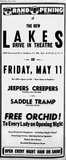 """[""""Lakes Drive-In Opening Ad 5/9/51""""]"""