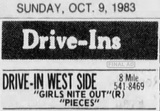 """[""""West Side Drive-In Final Ad 10/9/83""""]"""
