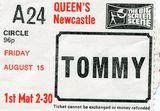 "1975 ""Tommy"" ticket stub courtesy Sharman Towers."