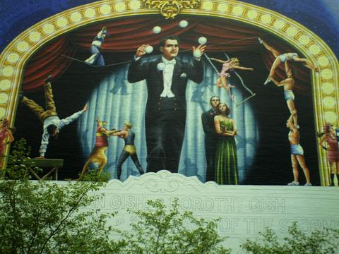Mural in progress on stagehouse of REGENT Theatre, Springfield OH (2009)