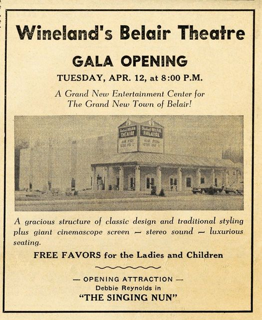 Wineland's Belair Theatre Gala Opening Tuesday April 12, 1966.