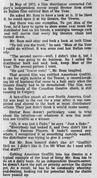 """May 1974 article on acquiring """"American Graffiti"""", courtesy Stephen Leigh."""