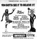 UNIVERSITY THEATRE - MYRA BRECKENRIDGE TORONTO STAR JULY 18, 1970