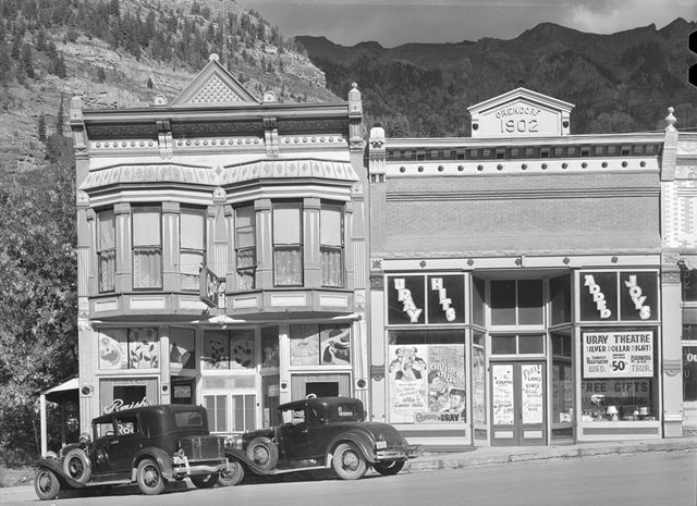 Uray promotional posters across from the Uray, 1940 photo credit Russell Lee, Library of Congress.