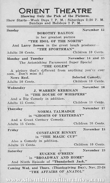 Program card from the week of November 13, 1921