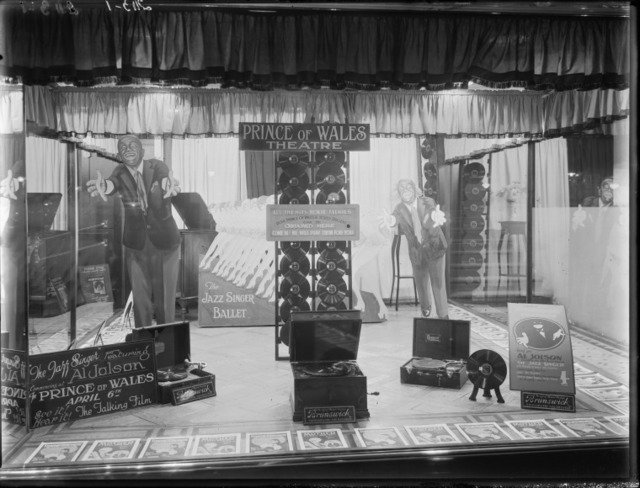 Prince of Wales Theatre 254-258 Murray Street, Perth, WA – Shop window display promotion for the Jazz Singer 1929.