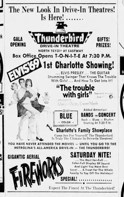 """The Trouble with Girls"" opens the Thunderbird on July 4th, 1969"