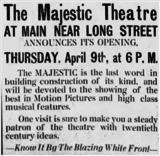 Majestic Theater grand opening ad