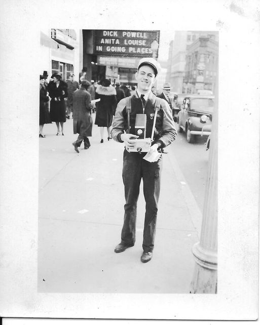 Paramount marquee in background. Atlanta street photographer, circa 1938 photo credit Linda Young Price.