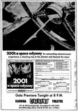 May 1968 newspaper ad for Stanley Kubrick's 2001: A Space Odyssey