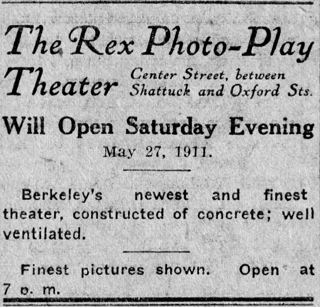 Rex Theatre Opening May 27,1911