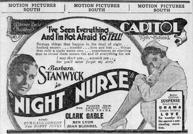 August 28, 1931 print ad courtesy Windy City Ballyhoo: Chicago's Moviegoing Past