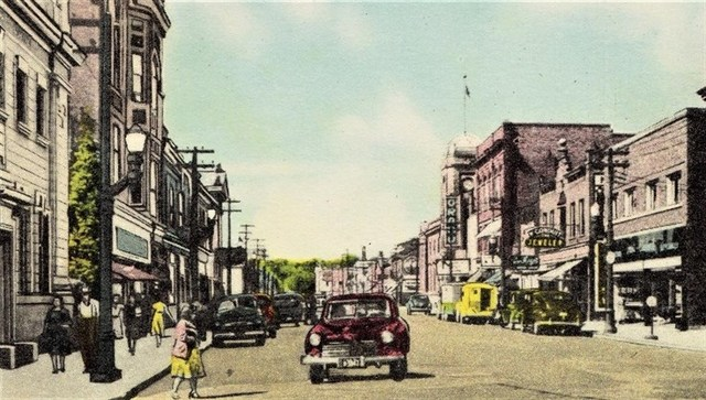 Grand marquee right of center. Vintage postcard of Water Street N.