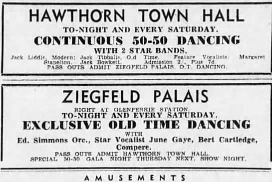 Hawthorn Town Hall  360 Burwood Road, Hawthorn, VIC - 1947 newspaper advert