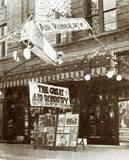 """The American Theater in Elyria, Lorain County, Ohio, decorated for the showing of the American drama film """"The Great Air Robbery (1919)."""" From the """"Exhibitors Herald,"""" August 1920."""