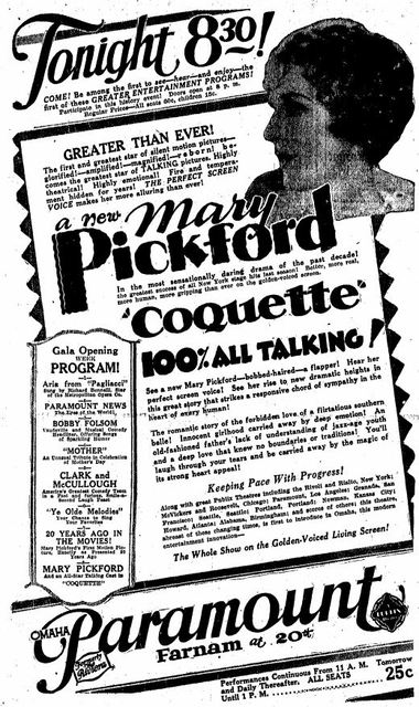 May 9th, 1929 grand opening ad as Paramount