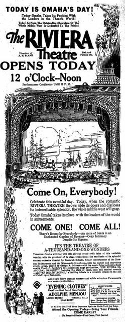 March 26th, 1927 grand opening ad as Riviera