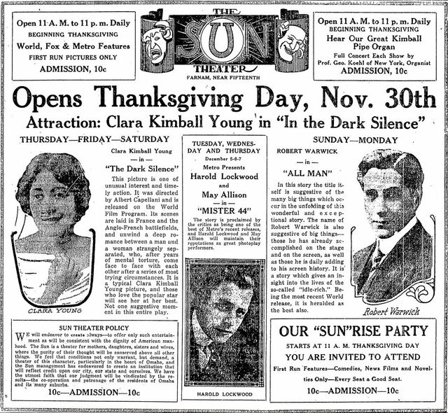 November 30th, 1916 grand opening ad as sun