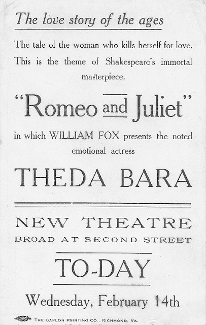 Advertising card for the New Theatre in Richmond