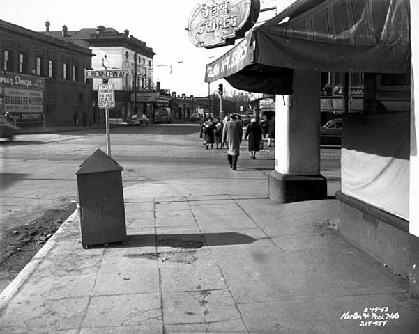 Princess Theater on 4th Street N.E., white building left of center. March 19, 1953 photo credit Minnesota Historical Society.