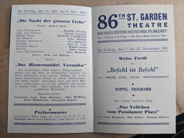 86th Street Garden Theatre Playbill (1941)