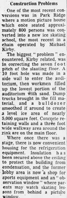 Ridge Theatre Conversion To Ice Rink - Chicago Tribune December 9 1956