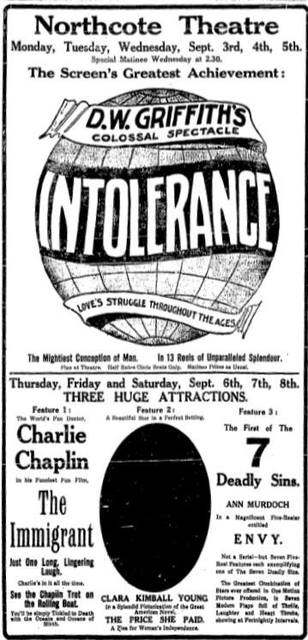 Northcote Theatre  206 High Street, Melbourne, VIC - Intolerance 1917