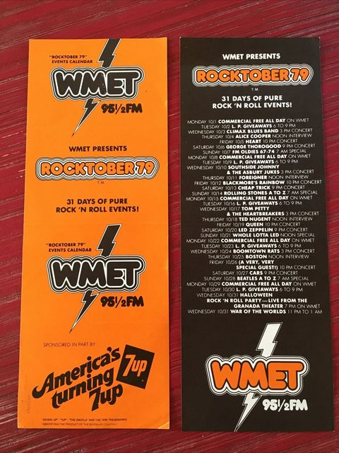 "WMET 95.5 FM ""Rocktober 79"" promo flyer, ""Rock `N Roll Party-Live From The Granada Theater"" at the bottom. Courtesy Vanished Chicagoland."