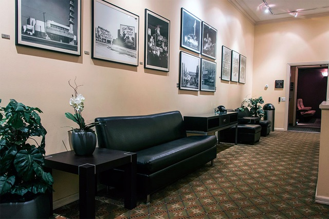 Lobby area of the Raleigh Studios screening rooms.
