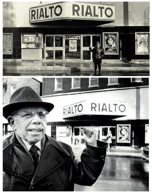 Abraham Levinson's son Martin in front of the Rialto in 1978, a year before it closed.