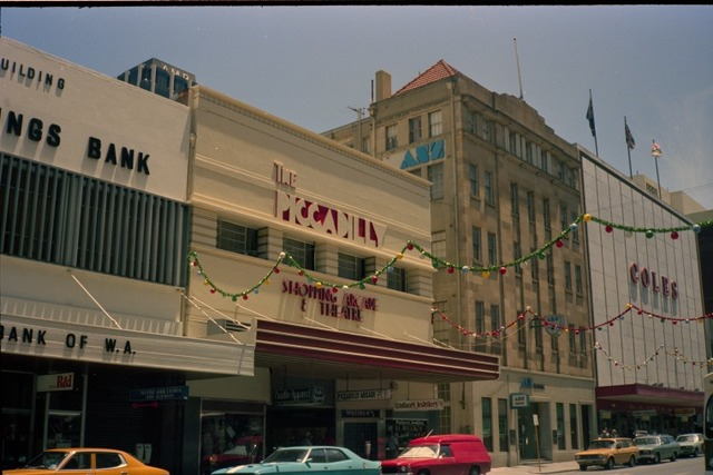 Piccadilly Arcade & Theatre, Murray Street entrance, Perth, Dec 1982