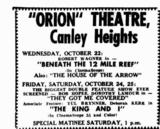 Orion Theatre  282 Canley Vale Road, Canley Heights, NSW  - 1958 newspaper advert.