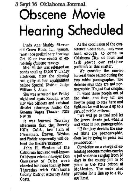 Obscene movie hearing held 3 Sept 76