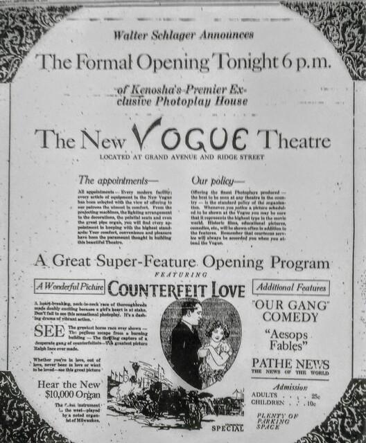 VOGUE Theatre; Kenosha, Wisconsin.