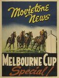 "[""ALBANY (Newsreel) THEATRETTE - 230 Collins Street, Melbourne, Victoria – Australia 1950's Melbourne Cup special poster.""]"