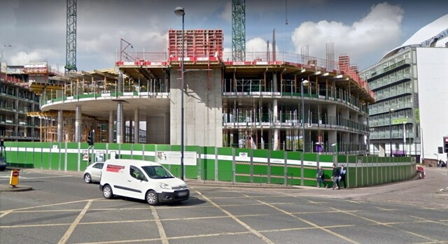 Front view of the cinema site, under redevelopment.