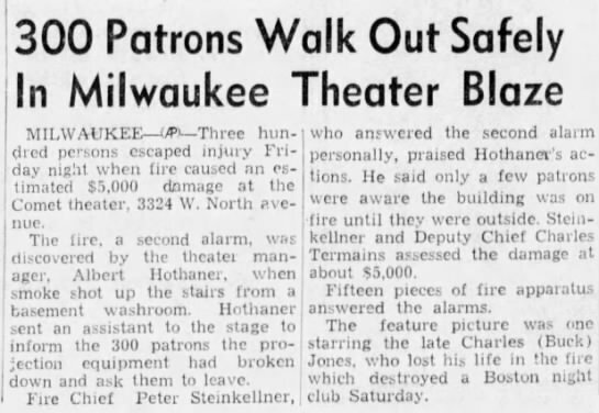 COMET Theatre; Milwaukee, Wisconsin.