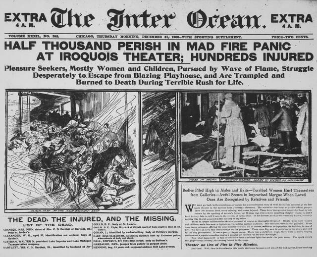 The front page of The Inter Ocean newspaper, December 31, 1903. CHM, ICHi-031813. Image & description credit Chicago History Museum.