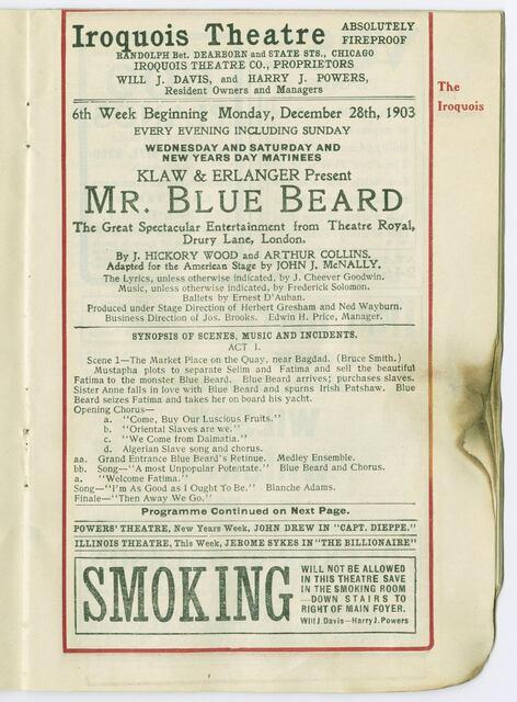 "A charred program advertising ""Mr. Blue Beard,"" December 1903. CHM, ICHi-034981. Image & description credit Chicago History Museum."