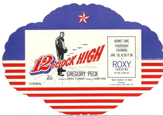 12 O'Clock High World premiere ticket ROXY NYC