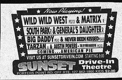Sunset Drive-In 1999 Ad