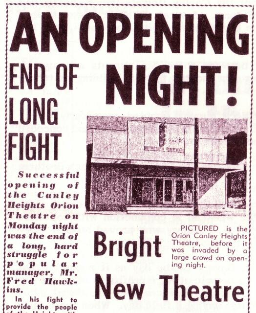 Orion Theatre 282 Canley Vale Road, Canley Heights, NSW - 1958 Grand opening.