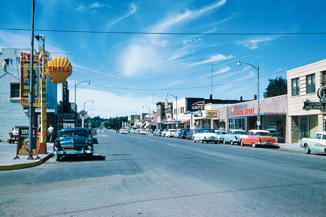 State Theater marquee on far left. September 1958 photo credit Robert Dorch.