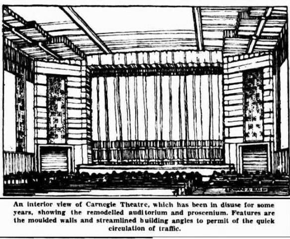 Hoyts Carnegie Theatre 18-22 Woorayl Street, Carnegie, VIC - 1935 architect's refurbishment drawing.