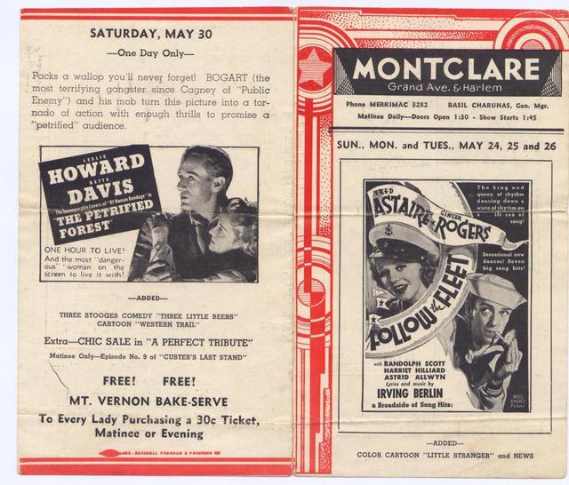 Montclare Theatre Lobby Flier 1936